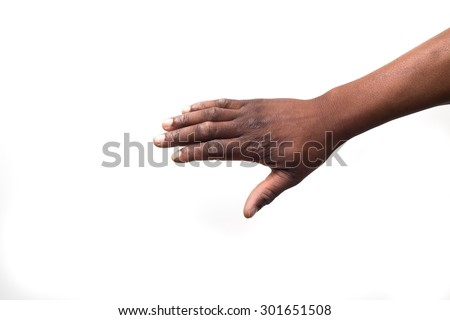 Close up view of a black / african mans hand from above - stock photo