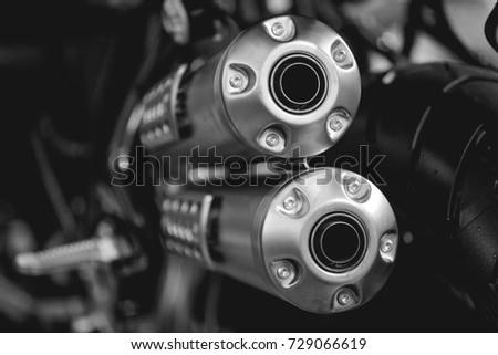 Close up view of a black motorcycle engine. exhaust pipe. Black and whitte photo & Close View Black Motorcycle Engine Exhaust Stock Photo (Royalty Free ...