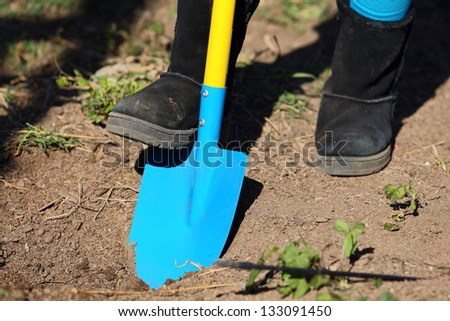 Close up view of a blue and yellow shovel digging a garden in the ground. - stock photo