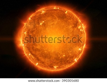 Close up view of a burning sun in space 'elements of this image furnished by NASA'