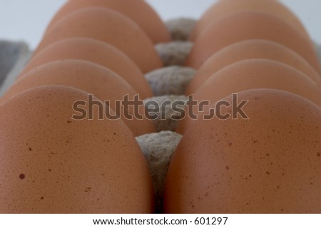 Close-up view of a carton of brown eggs, viewed from the end. - stock photo