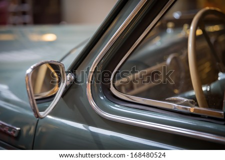 close-up view  of a classic vintage car - stock photo