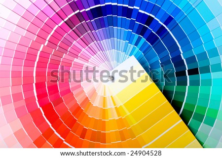 Close-up view of a color chart used for paint selection - stock photo