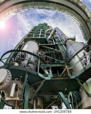 Close up view of a deactivated refinery complex, distillation tower located in Lisbon, Portugal. - stock photo