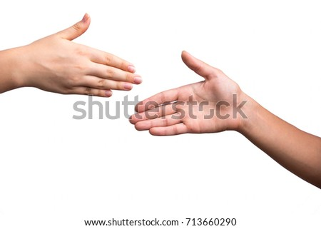 Close up view of a handshake. Successful deal after meeting.Horizontal, white background