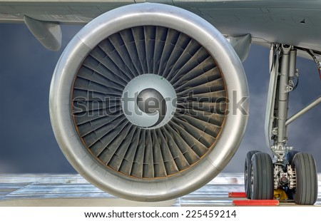 Close-up view of a jet engine turbine - stock photo
