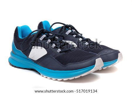 Close up view of a modern blue man sports shoes isolated on a white background.