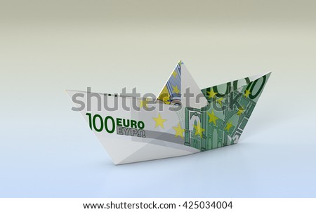 close-up view of a paper boat made with euro banknotes, concept of business and finance (3d render) - stock photo