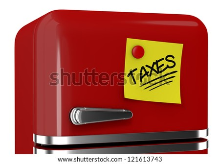 close up view of a refrigerator with a yellow sticky note and text: taxes (3d render)