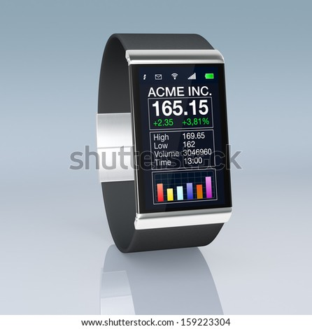 close up view of a smart watch with a financial application (3d render)