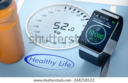 close-up view of a smartwatch with fitness app and a digital bathroom scale (3d render)