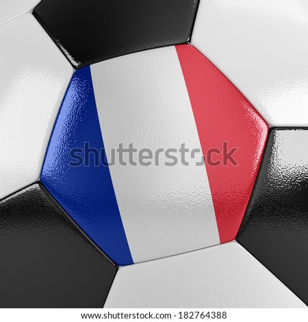 Close up view of a soccer ball with the French flag on it - stock photo