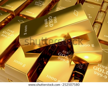 close up view of a stack of gold bars (3d render) - stock photo