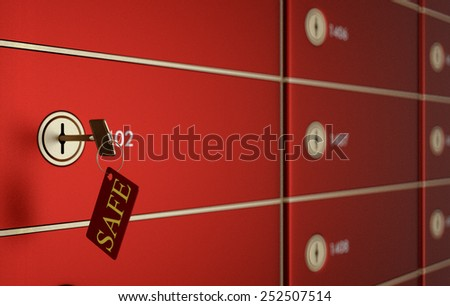 close up view of a stack of safe boxes with a key and label:safe (3d render) - stock photo