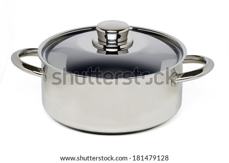 Close up view of a stainless steel cooking pan isolated on a white background.