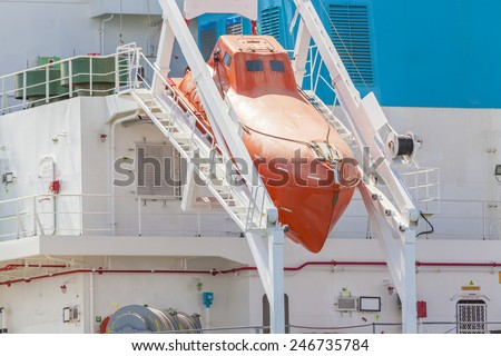 Close-up view of a totally enclosed freefall lifeboat on a downward sloping slipway - stock photo