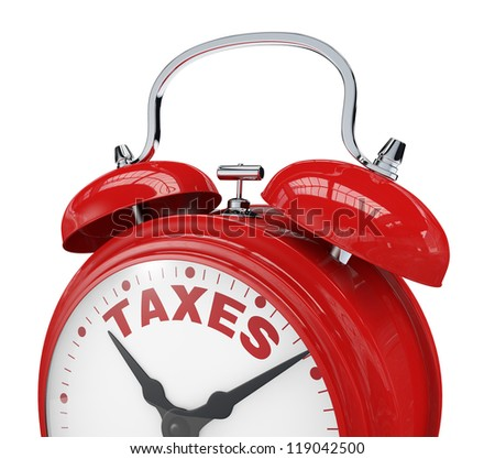 close up view of a vintage alarm clock with the text: taxes instead of the numbers (3d render) - stock photo