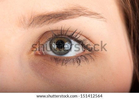 Close-up view of a young woman eye