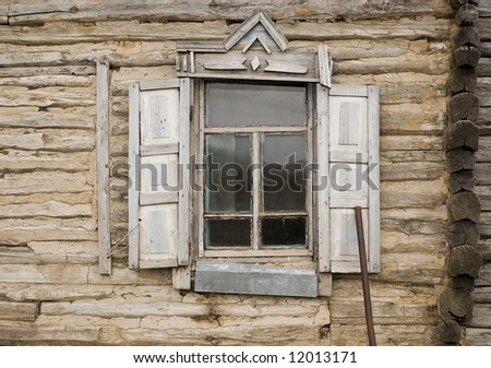 close-up view of abandoned cottage - stock photo