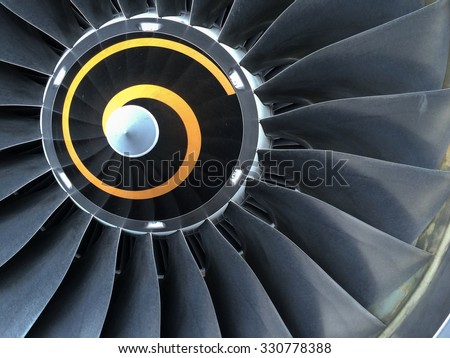 Close up view of aircraft engine - stock photo