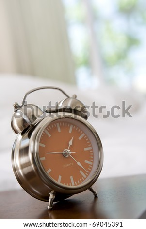 close up view of alarm-clock in morning bedroom environment