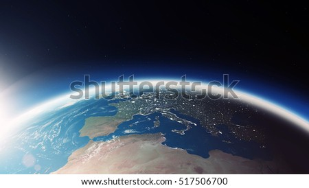 Close-up View of Amazing Earth Planet in Space. 3D Rendering. (Elements of this image furnished by NASA)