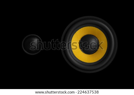 Close-up view of an audio speaker isolated on black