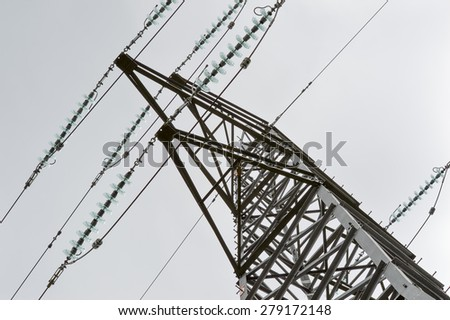 Close Up View of an Electricity Pylon - stock photo