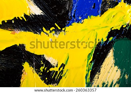Close-up view of an original abstract oil painting on canvas