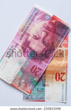 Close up view of Banknote twenty Swiss Francs - stock photo