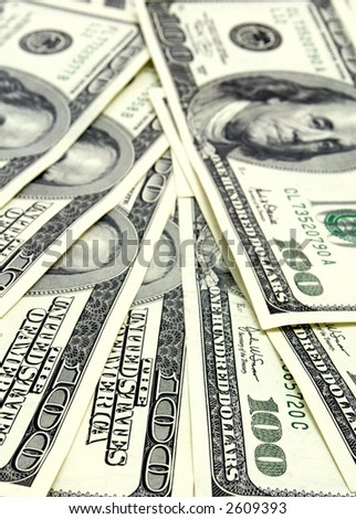 Close-up view of $100 banknotes
