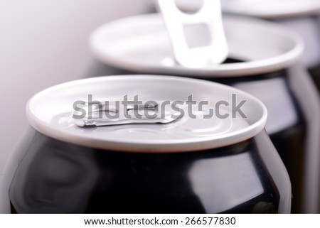 close up view of beer can - stock photo