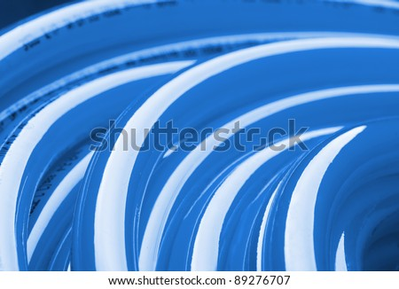 Close-up view of blue pipe for potable water - stock photo