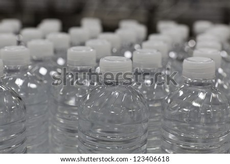 Close-up view of bottles of water - stock photo
