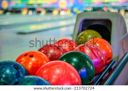 Close-up view of bowling balls - stock photo