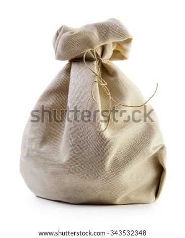 Close up view of burlap sack isolated on white background
