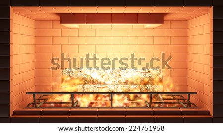 Close-up View of Burning Fireplace. Fireplace made from Red Brick with Wooden Logs and Fire Flame