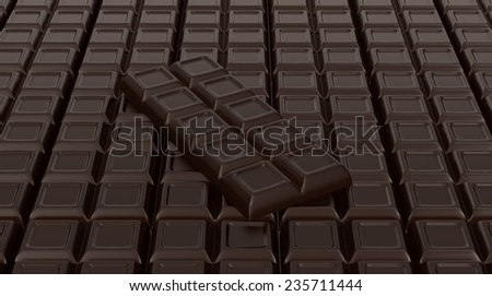 close up view of chocolate bars (3d render)