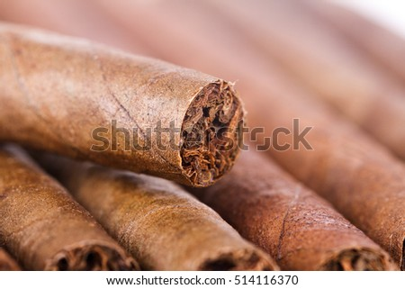 Close up view of chocolate cigars.