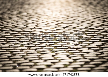Close up view of cobblestone street in Gamla Stan, Stockholm, Sweden, Scandinavia, Europe.