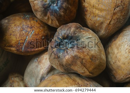 Close up view of coconuts
