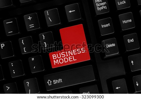 Close-up view of computer keyboard with Business Model words on keyboard button. - stock photo
