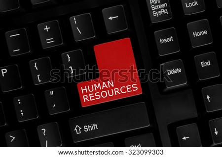 Close-up view of computer keyboard with Human Resources words on keyboard button.