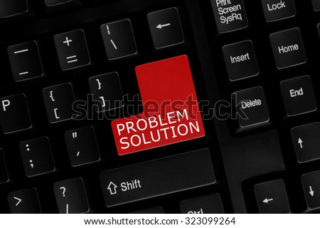 Close-up view of computer keyboard with Problem Solution words on keyboard button. - stock photo