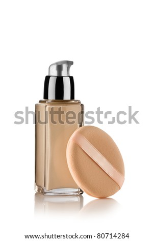 Close up view of Cosmetic liquid foundation on white back