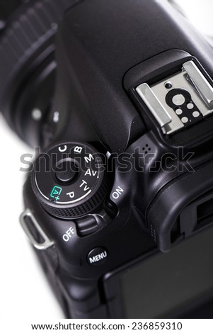 Close up view of DSLR camera - stock photo