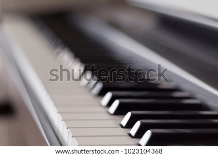 Close-up view of electronic piano. Concept of playing music
