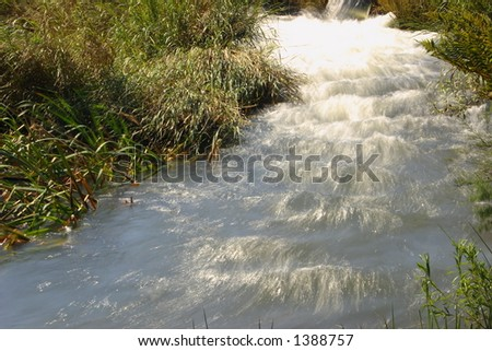 Close up view of fast flowing water.