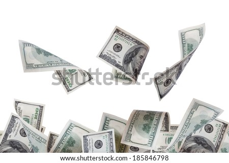 Close up view of flying one hundred dollar banknotes, isolated on white background.