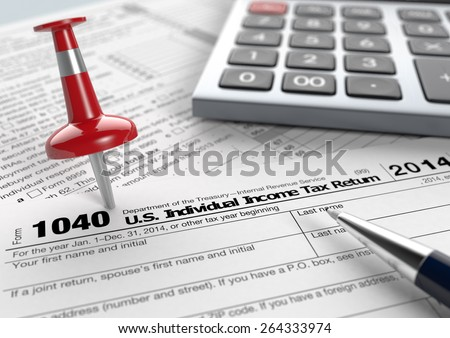 close up view of 1040 form for usa taxes, with a pen, a red pin and an electronic calculator (3d render) - stock photo